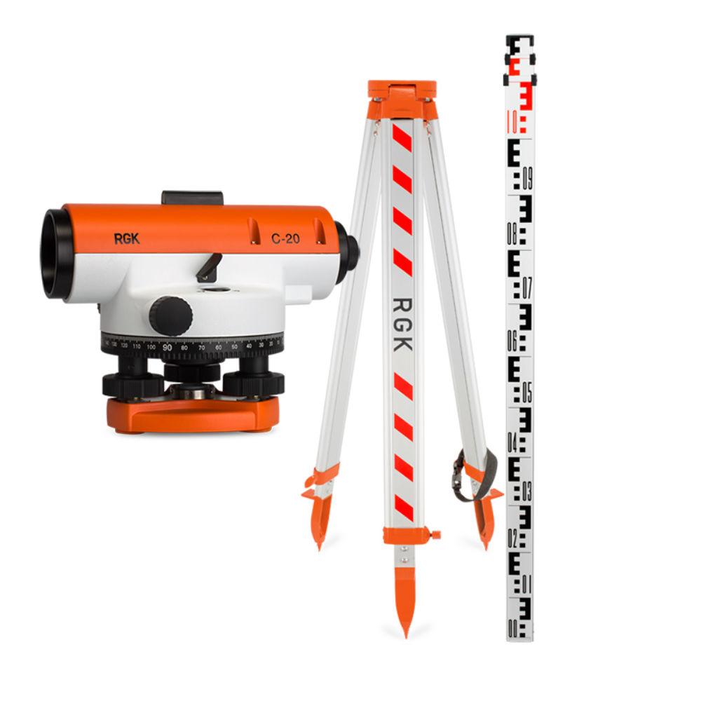 Оптический нивелир RGK C-20 + штатив + рейка 3м 4610011870545