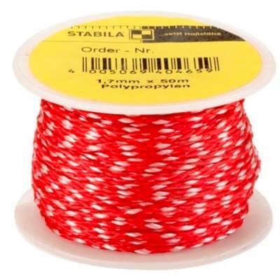 Шнур для каменщика STABILA (красно-белый 1,7 мм х 50 м) 40465