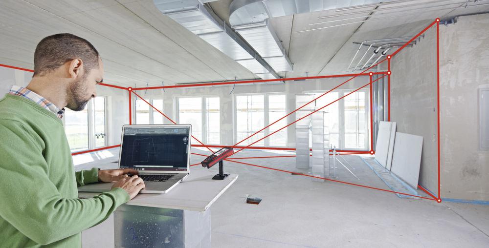 3D измерений помещения с при помощи лазерного дальномера Leica DISTO S910