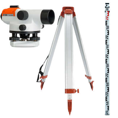Комплект оптического нивелира RGK C-24 + штатив + рейка 3м