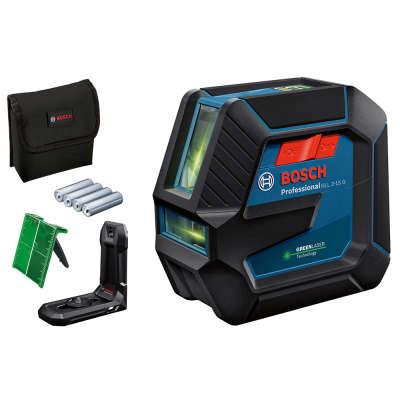 Лазерный уровень (нивелир) Bosch GLL2-15 G + настенное крепление LB10 + мишень + сумка + батарейки